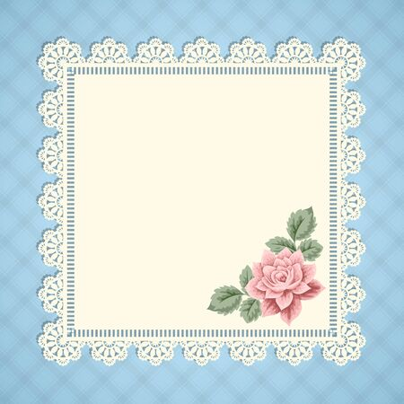 lace doily: Vintage background with hand drawn rose and lace doily on gingham background. Greeting card, invitation template. Vector illustration Illustration