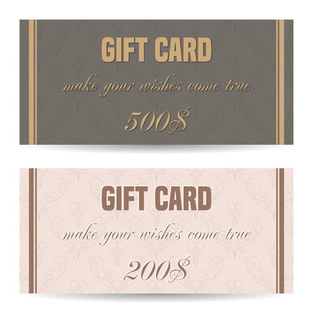 prepaid card: Set of gift card template. Vector illustration