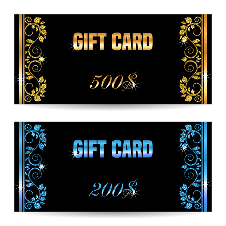 prepaid: Set of gift card template. Vector illustration