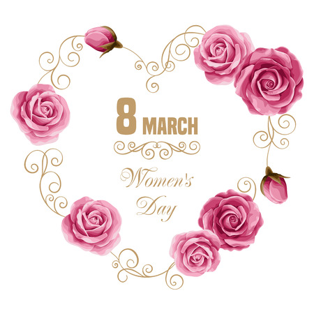 Womens day floral card with hand drawn roses. 8 march. Vector illustration Çizim