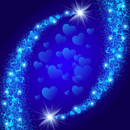 shiny hearts: Abstract shiny glitter comets made of tiny rings and hearts on blue background. Vector illustration