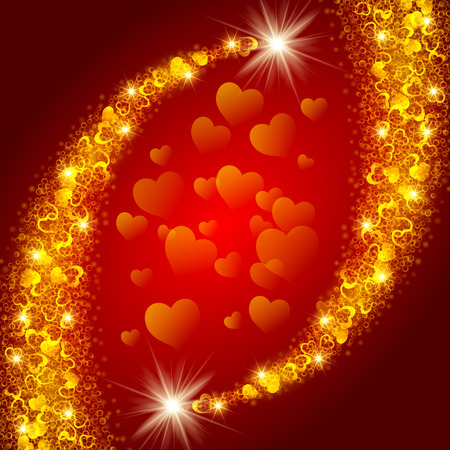 shiny hearts: Abstract shiny glitter comets made of tiny rings and hearts on red background. Vector illustration