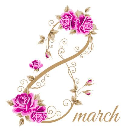 Frauentag Blumen-Karte mit Hand gezeichnet Rosen. 8. März. Vektor-Illustration Standard-Bild - 51746337