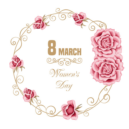 Womens day floral card with hand drawn roses. 8 march. Vector illustration Illustration