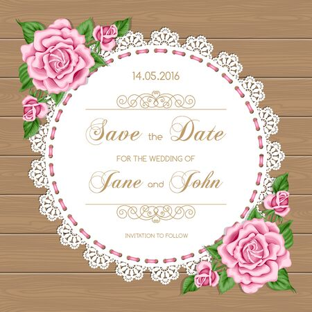 Wedding card with roses and lace doily. Vector illusrtration in retro style Иллюстрация