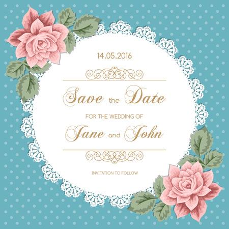 Carte de mariage avec des roses et dentelle napperon. Vector illusrtration style rétro Vecteurs