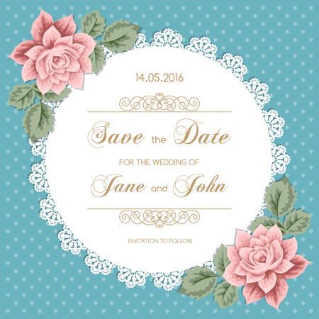 Wedding card with roses and lace doily. Vector illusrtration in retro style Vector Illustration