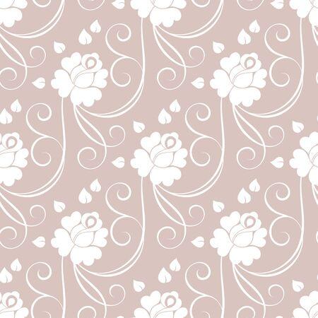 rosebud: Floral seamless pattern. Vector illustration in retro style. Illustration
