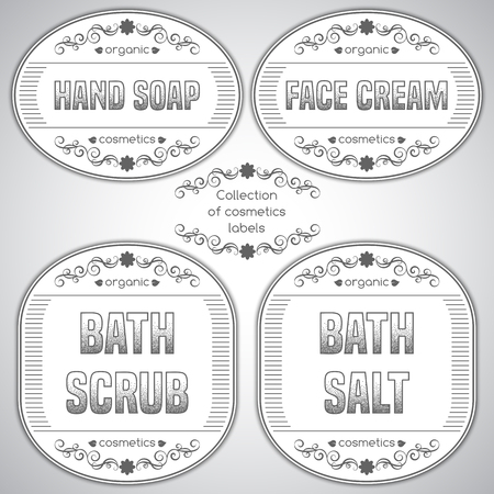 handmade soap: Collection of cosmetics labels with hand draw calligraphic design elements. Natural and organic products. Template for labels and stickers in retro style. Vector illustration