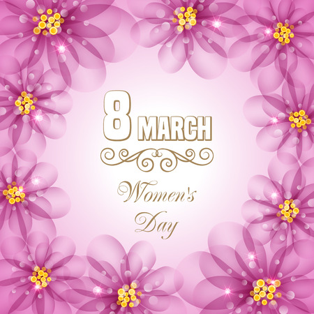 8 march: Womens day floral card with abstract flowers. 8 march. Vector illustration