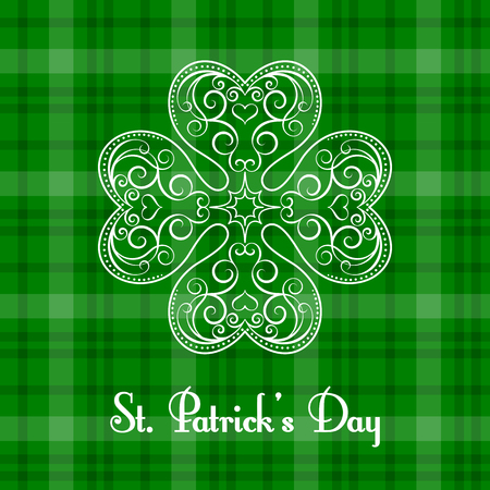 4 leaf: Saint Patricks Day greeting card. Vector illustration in retro style