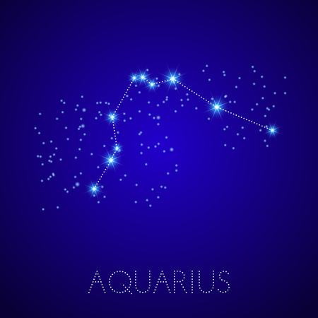 aquarius star: Zodiac Constellation Aquarius. Realistic star map fragment. Vector illustration Illustration