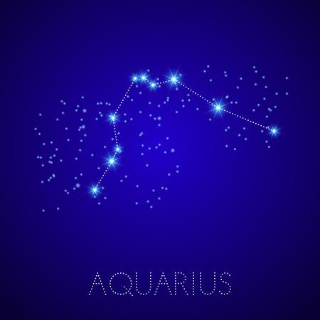 star map: Zodiac Constellation Aquarius. Realistic star map fragment. Vector illustration Illustration
