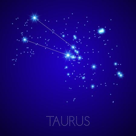 star map: Zodiac Constellation Taurus. Realistic star map fragment. Vector illustration Illustration