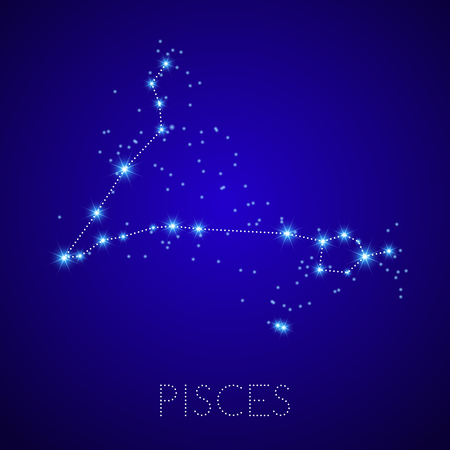 pisces star: Zodiac Constellation Pisces. Realistic star map fragment. Vector illustration