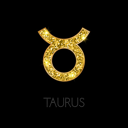 Shiny luxury Zodiac sign Taurus. Glamour design element. Vector illustration