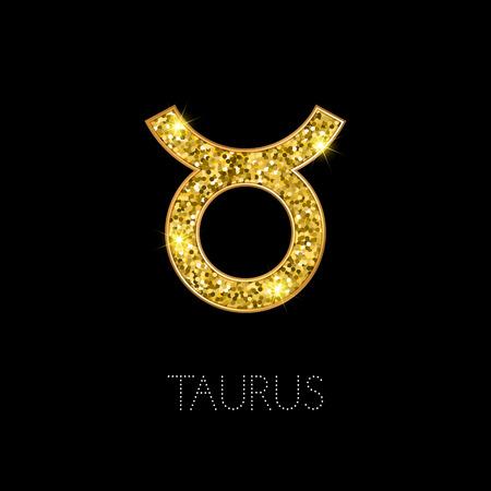 Shiny luxury Zodiac sign Taurus. Glamour design element. Vector illustration