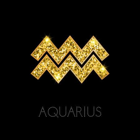 water bearer: Shiny luxury Zodiac sign Aquarius. Glamour design element. Vector illustration