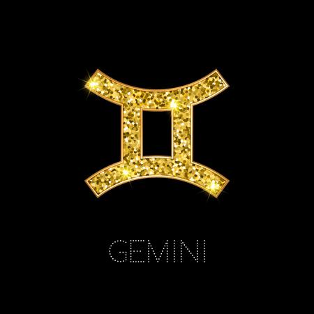 Shiny luxury Zodiac sign Gemini. Glamour design element. Vector illustration