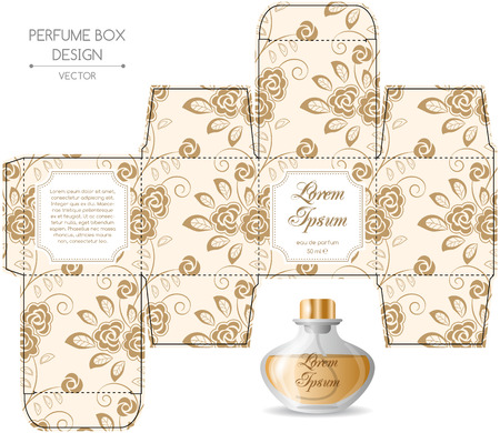 Perfume box design in retro style. Vector illustration