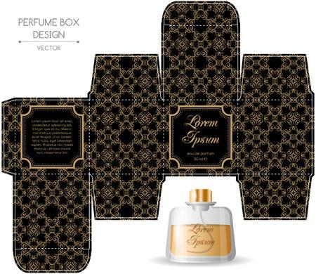Parfum box ontwerp in retro stijl. vector illustratie