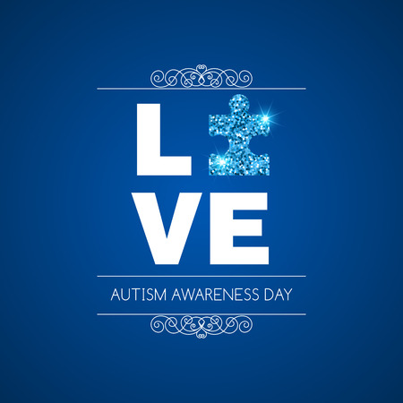 social awareness symbol: Autism awareness day. Card or poster template. Vector illustration Illustration