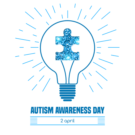 Autism awareness day. Card or poster template. Vector illustration Ilustração