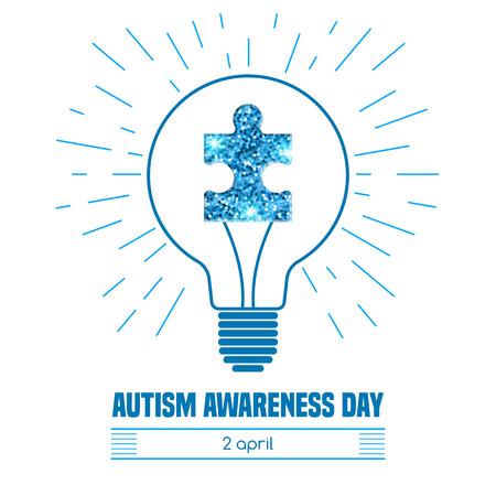 Autism Awareness Day. Kaart of poster template. vector illustratie Vector Illustratie