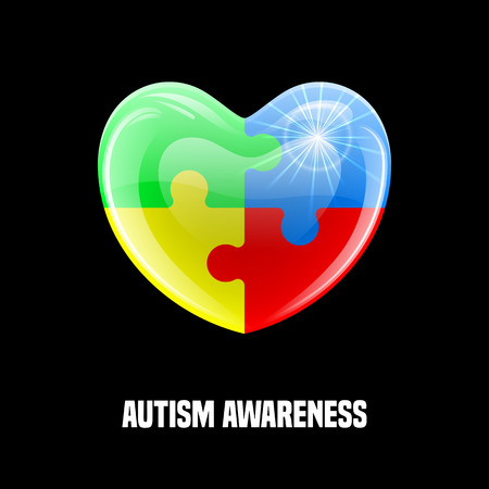 helplessness: Autism awareness day. Card or poster template. Vector illustration Illustration