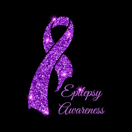 Purple epilepsy awareness ribbon on black background. Epilepsy solidarity day. Vector illustration.
