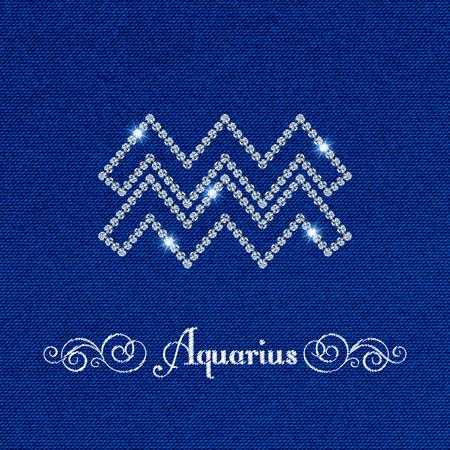 water bearer: Shiny luxury Zodiac sign Aquarius. Glamour design element. Denim background. Vector illustration Illustration