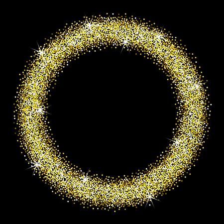 Gold glitter frame on a black background. Round frame of golden star dust. Illustration