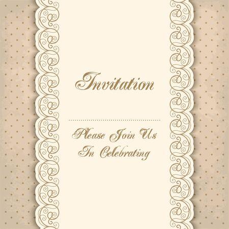 Vintage-Einladung Vorlage mit Spitzen-Grenzen. Vektor-Illustration