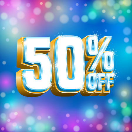 Sale design. Poster, banner, discount card template on the blue background with bokeh lights. Vector Иллюстрация