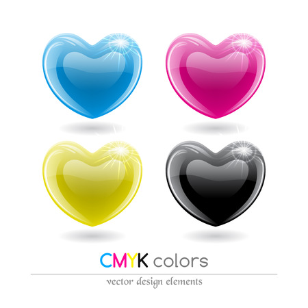 magenta: CMYK shiny hearts symbol set. Vector illustration. Illustration