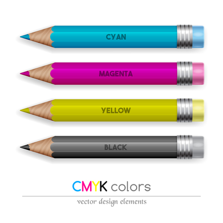 color pencils: Color pencils in CMYK colors. Design concept. Vector illustration. Illustration