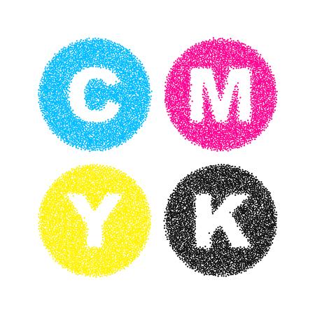 pointillism: CMYK letters symbol set. Pointillism vector illustration