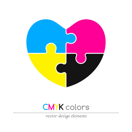 puzzled: Puzzled heart in CMYK colors. Flat icon. Design element. Vector illustration.