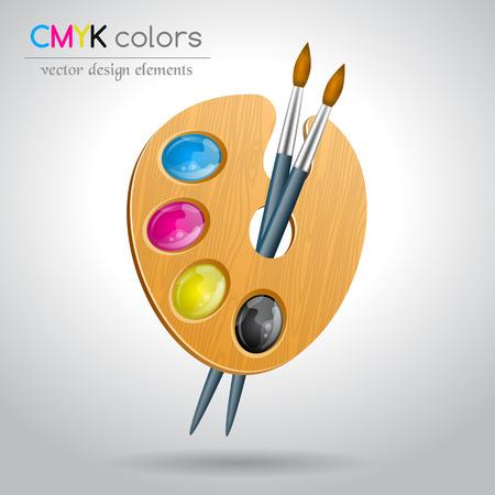 color palette: CMYK color palette and brushes. Vector illustration. Illustration