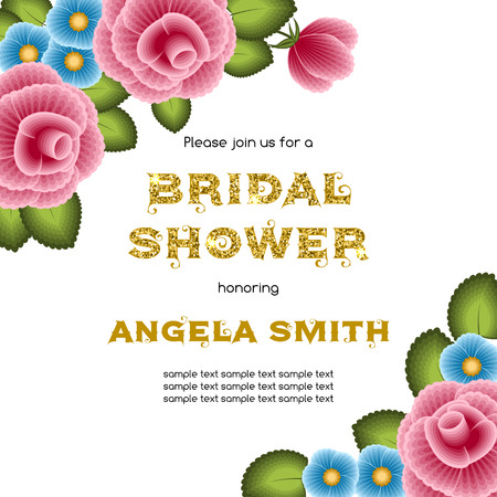 bachelorette: Bridal shower invitation template with flowers. Illustration in one stroke painting style. Vector