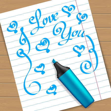 pen and marker: Handwritten text message on peace of paper with the marker pen. Vector illustration Illustration