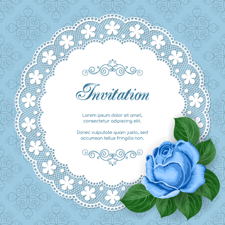 lace doily: Vintage floral invitation template with hand drawn flowers and lace doily. Illustration in retro style. Vector.