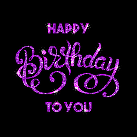 Birthday Greeting Card With Hand Lettering Purple Sparkling