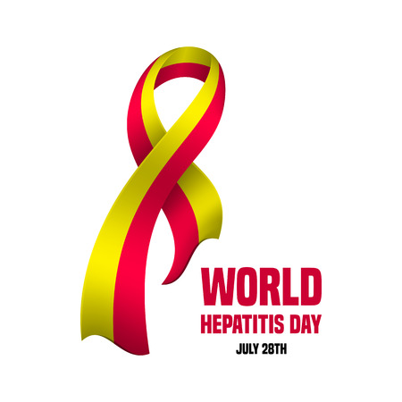 hepatitis prevention: Vector illustration for World Hepatitis Day with the awareness ribbon Illustration