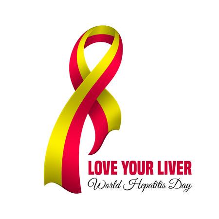 Vektor-Illustration für Welt-Hepatitis-Tag mit dem Bewusstseinsband Standard-Bild - 58507832