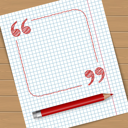 Ilustración de la página de cuaderno con el marco con comillas. El lugar de texto. Vector