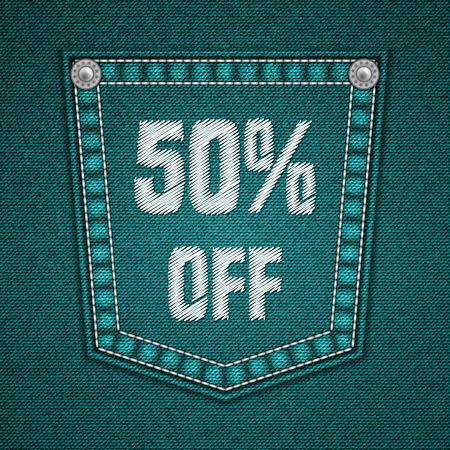 jeans pocket: Jeans pocket with embroidered text message. Sale design. Illustration