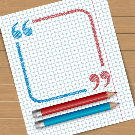 notebook page: Illustration of notebook page with frame with quotation marks