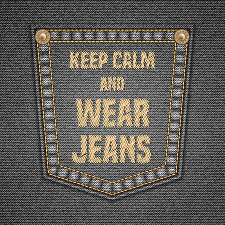 jeans pocket: Jeans pocket with embroidered text message. Sale design. Vector illustration