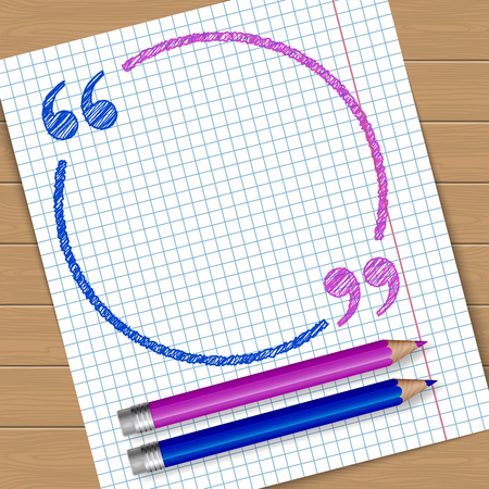 sketched shapes: Illustration of notebook page with frame with quotation marks. Place for text. Vector Illustration